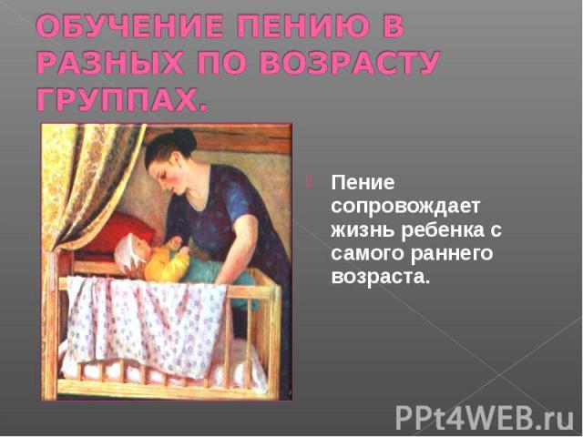 ОБУЧЕНИЕ ПЕНИЮ В РАЗНЫХ ПО ВОЗРАСТУ ГРУППАХ. Пение сопровождает жизнь ребенка с самого раннего возраста.