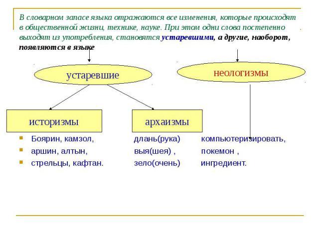 В словарном запасе языка отражаются все изменения, которые происходят в общественной жизни, технике, науке. При этом одни слова постепенно выходят из употребления, становятся устаревшими, а другие, наоборот, появляются в языке Боярин, камзол, длань(…