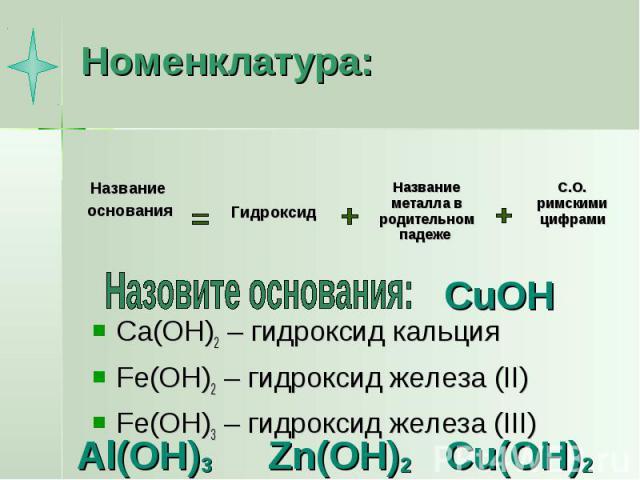 Номенклатура: Ca(OH)2 – гидроксид кальцияFe(OH)2 – гидроксид железа (II)Fe(OH)3 – гидроксид железа (III)