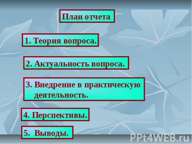 План отчета 1. Теория вопроса.2. Актуальность вопроса. 3. Внедрение в практическую деятельность.4. Перспективы.5. Выводы.