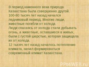В период каменного века природа Казахстана была совершенно другой. 100-80 тысяч