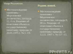 Озеро Чкаловское. Местонахождение памятника – Морозовское лесничество, площадь 1