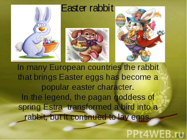 Easter rabbitIn many European countries the rabbit that brings Easter eggs has become a popular easter character.In the legend, the pagan goddess of spring Estra transformed a bird into a rabbit, but it continued to lay eggs.