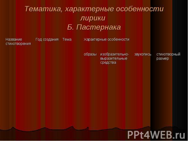 Тематика, характерные особенности лирики Б. Пастернака