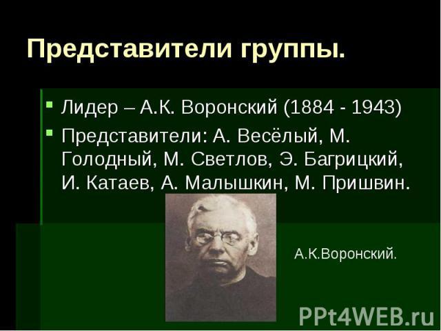 Представители группы. Лидер – А.К. Воронский (1884 - 1943)Представители: А. Весёлый, М. Голодный, М. Светлов, Э. Багрицкий, И. Катаев, А. Малышкин, М. Пришвин.А.К.Воронский.