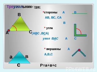 Треугольник- три: *стороны А В АВ, ВС, СА В* угла (АВС ,ВСА) угол ВАС А С * верш
