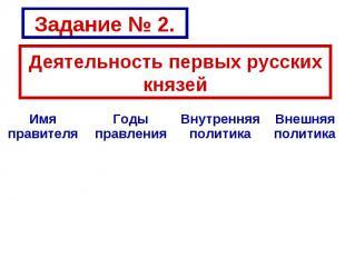 Задание № 2. Деятельность первых русских князей