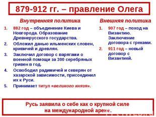 879-912 гг. – правление ОлегаРусь заявила о себе как о крупной силе на междунаро