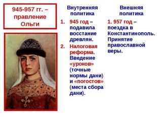 945-957 гг. – правление Ольги