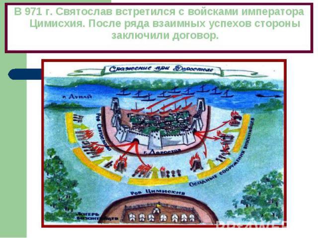В 971 г. Святослав встретился с войсками императора Цимисхия. После ряда взаимных успехов стороны заключили договор.