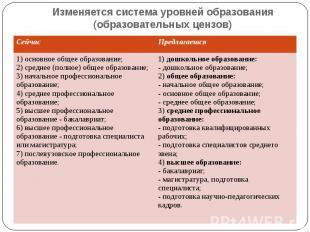Изменяется система уровней образования (образовательных цензов)