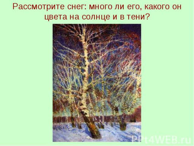 Рассмотрите снег: много ли его, какого он цвета на солнце и в тени?