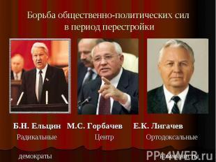 Борьба общественно-политических сил в период перестройки Б.Н. Ельцин М.С. Горбач