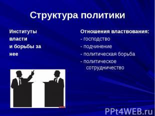 Структура политики Институтывластии борьбы занееОтношения властвования:- господс