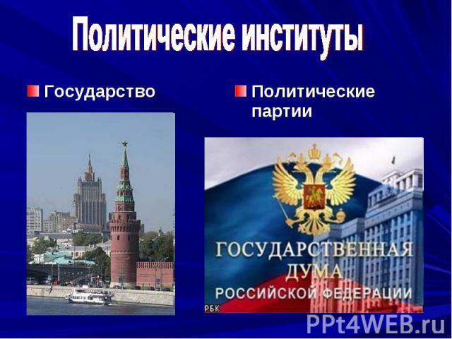 Политические институты ГосударствоПолитические партии