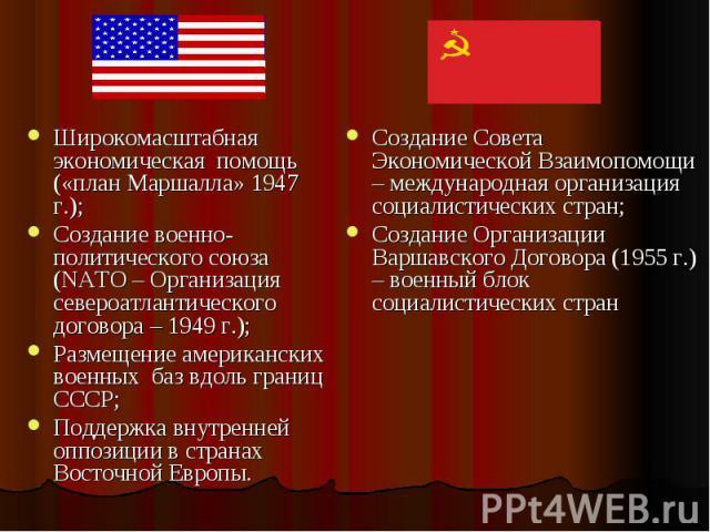 Широкомасштабная экономическая помощь («план Маршалла» 1947 г.);Создание военно-политического союза (NATO – Организация североатлантического договора – 1949 г.);Размещение американских военных баз вдоль границ СССР; Поддержка внутренней оппозиции в …