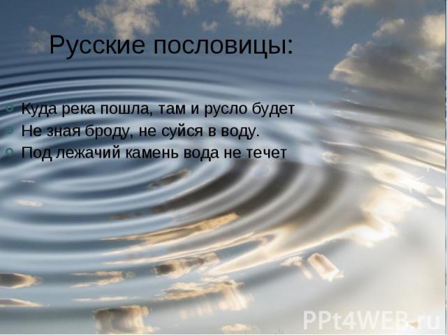 Русские пословицы: Куда река пошла, там и русло будетНе зная броду, не суйся в воду.Под лежачий камень вода не течет