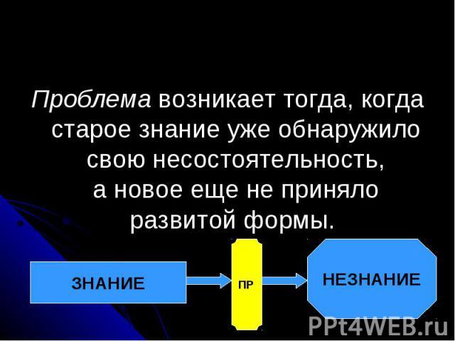 Проблема возникает тогда, когда старое знание уже обнаружило свою несостоятельность, ановое еще неприняло развитой формы.