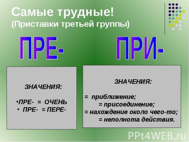 Самые трудные!(Приставки третьей группы) ПРЕ- ЗНАЧЕНИЯ:ПРЕ- = ОЧЕНЬ ПРЕ- = ПЕРЕ-ПРИ- ЗНАЧЕНИЯ:= приближение; = присоединение;= нахождение около чего-то; = неполнота действия.