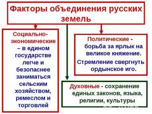 Факторы объединения русских земель Социально- экономические – в едином государст