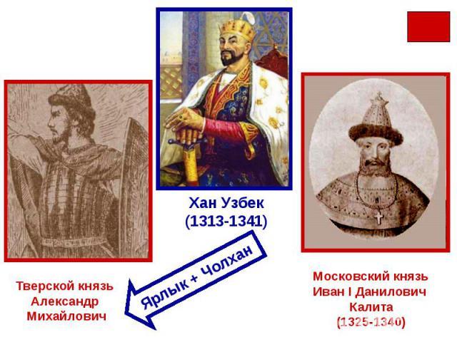 Тверской князь Александр МихайловичХан Узбек(1313-1341)Московский князьИван I Данилович Калита(1325-1340)Ярлык + Чолхан