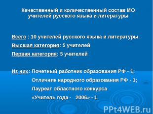 Качественный и количественный состав МО учителей русского языка и литературы Все