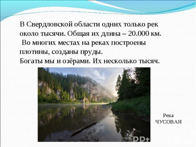 В Свердловской области одних только рек около тысячи. Общая их длина – 20.000 км. Во многих местах на реках построены плотины, созданы пруды.Богаты мы и озёрами. Их несколько тысяч.РекаЧУСОВАЯ