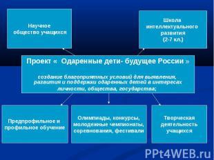 Проект « Одаренные дети- будущее России » создание благоприятных условий для выя