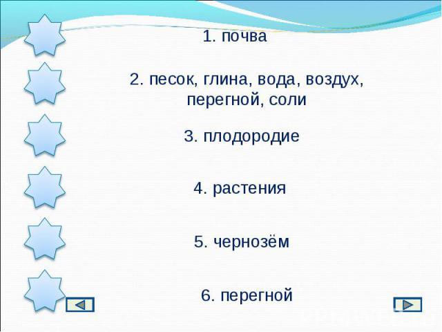 1. почва2. песок, глина, вода, воздух, перегной, соли3. плодородие4. растения5. чернозём6. перегной