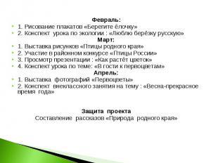 Февраль:1. Рисование плакатов «Берегите ёлочку»2. Конспект урока по экологии : «