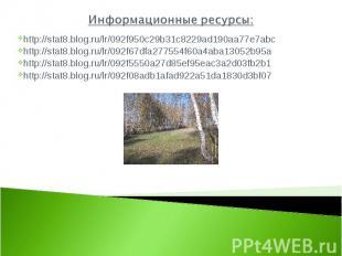 Информационные ресурсы: http://stat8.blog.ru/lr/092f950c29b31c8229ad190aa77e7abc