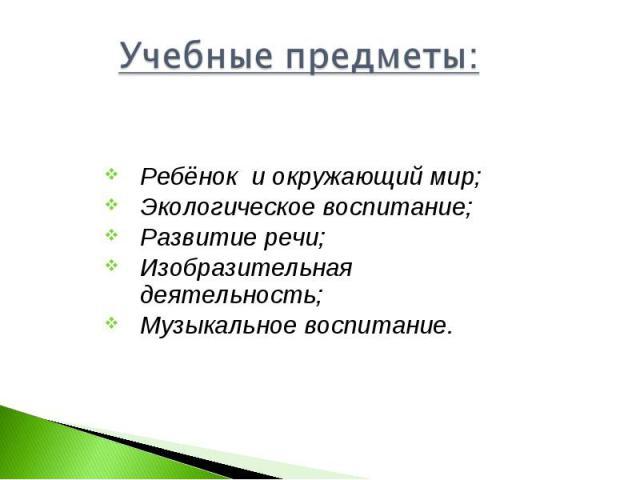 Учебные предметы: Ребёнок и окружающий мир;Экологическое воспитание;Развитие речи;Изобразительная деятельность;Музыкальное воспитание.
