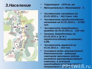 3.Население Территория - 1479 кв. км Муниципальных образований - 5. Численность