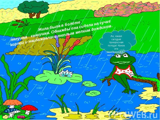 Жила-была в болоте лягушка - квакушка. Однажды она сидела на сучке коряги и наслаждалась теплым мелким дождиком.Ах, какая сегодня прекрасная погода! Какое это наслаждение – жить на свете!