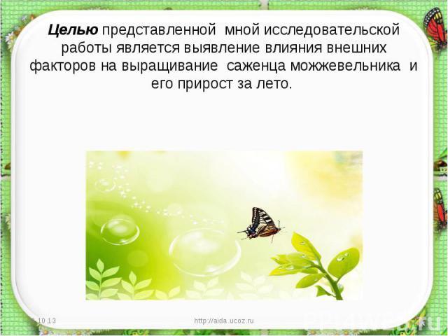 Целью представленной мной исследовательской работы является выявление влияния внешних факторов на выращивание саженца можжевельника и его прирост за лето.