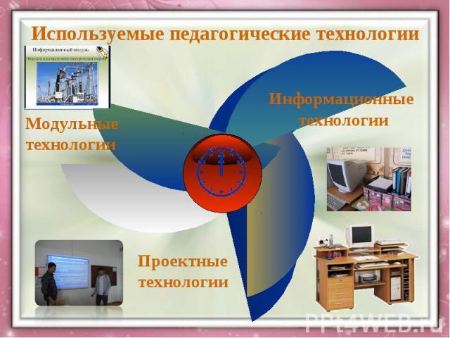 Используемые педагогические технологииМодульные технологии Информационные технологииПроектные технологии