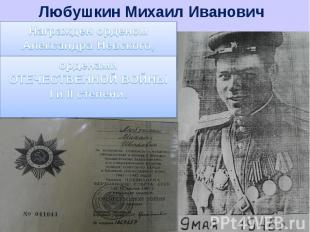 Любушкин Михаил ИвановичНагражден орденом Александра Невского, орденами ОТЕЧЕСТВ