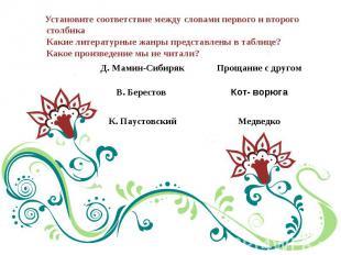 Установите соответствие между словами первого и второго столбикаКакие литературн