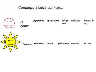 Сотвори в себе солнце…