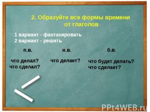 2. Образуйте все формы времени от глаголов1 вариант - фантазировать2 вариант - р