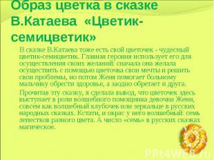 Образ цветка в сказке В.Катаева «Цветик-семицветик» В сказке В.Катаева тоже есть