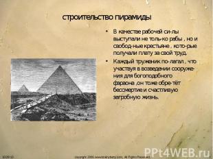 строительство пирамиды В качестве рабочей си-лы выступали не толь-ко рабы , но и
