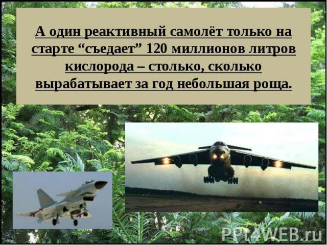 """А один реактивный самолёт только на старте """"съедает"""" 120 миллионов литров кислорода – столько, сколько вырабатывает за год небольшая роща."""