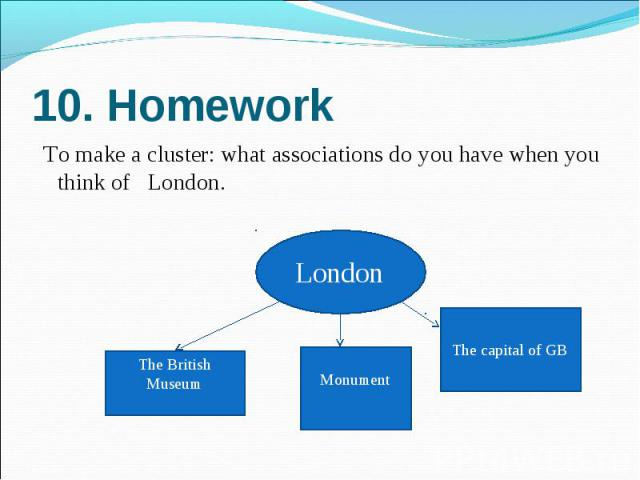 10. Homework To make a cluster: what associations do you have when you think of  London.