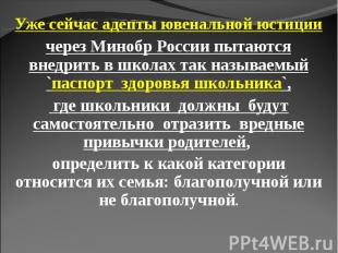 Уже сейчас адепты ювенальной юстиции через Минобр России пытаются внедрить в шко