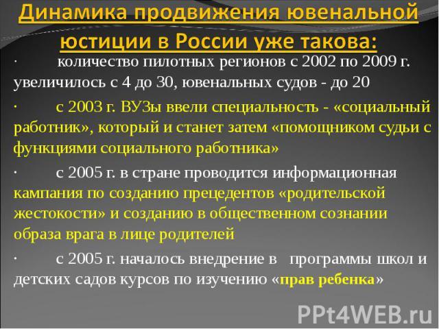 Динамика продвижения ювенальной юстиции в России уже такова: · количество пилотных регионов с 2002 по 2009 г. увеличилось с 4 до 30, ювенальных судов - до 20· с 2003 г. ВУЗы ввели специальность - «социальный работник», который и станет затем «помощн…