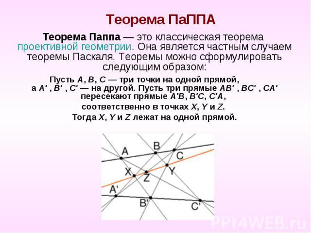 Теорема ПаППА Теорема Паппа — это классическая теорема проективной геометрии. Она является частным случаем теоремы Паскаля. Теоремы можно сформулировать следующим образом: Пусть A, B, C — три точки на одной прямой, а A' , B' , C' — на другой. Пусть …