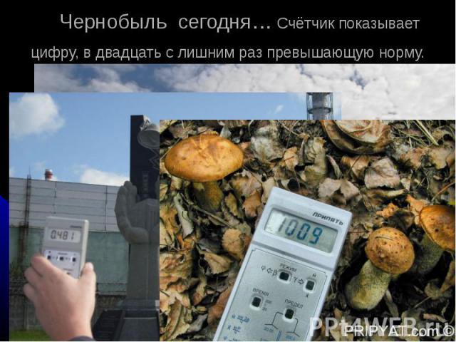 Чернобыль сегодня… Счётчик показывает цифру, в двадцать c лишним раз превышающую норму.