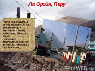 Ла Оройя, Перу Число потенциально пострадавших: 35 000Загрязняющие вещества: сви
