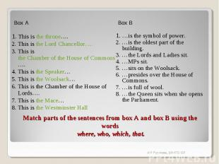 Box A1. This is the throne….2. This is the Lord Chancellor….3. This is the Chamb